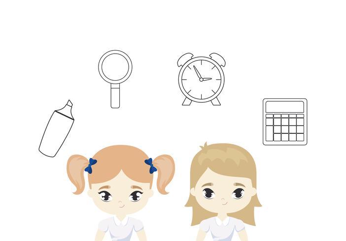 cute little student girls with supplies school