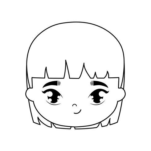 tête de personnage avatar jolie petite fille