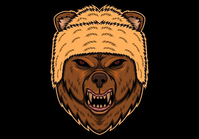 bear angry head vector illustration