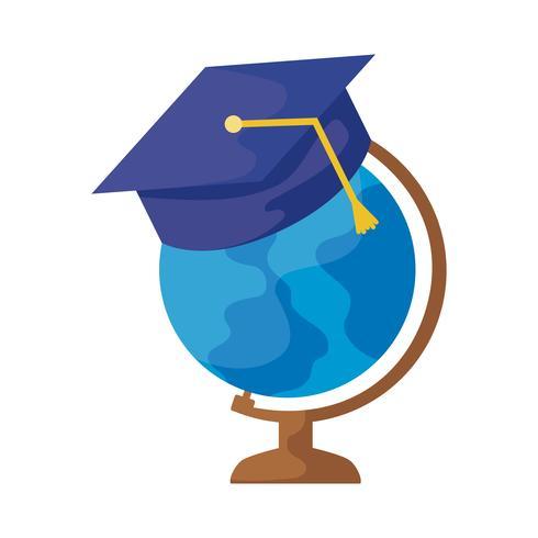 terrestrial globe with hat graduation