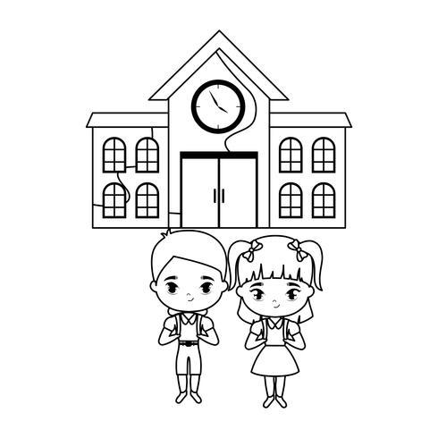 bonitinhos alunos na frente da escola