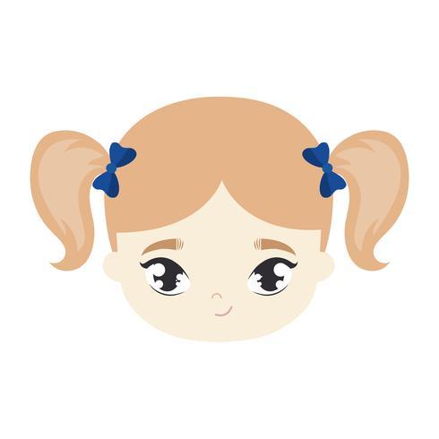head of cute little girl avatar character