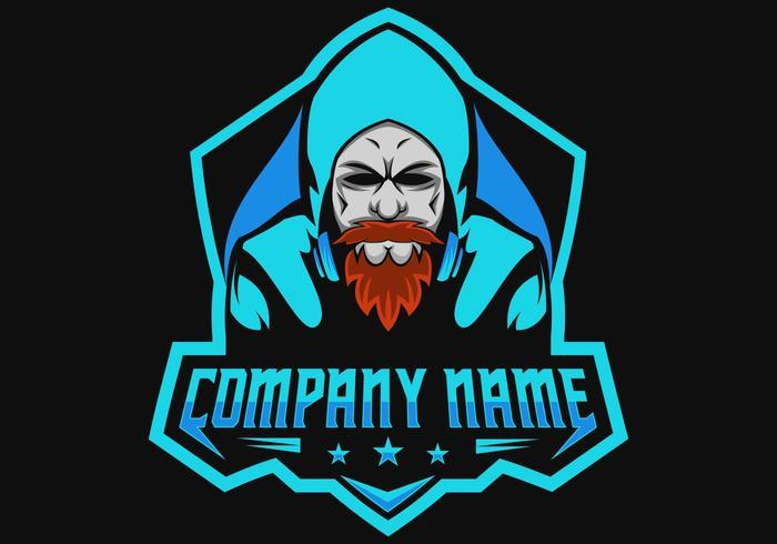 beard man gamers gaming e sport logo