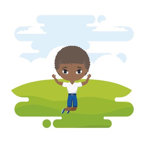 lindo pequeño estudiante chico afro en escena de paisaje