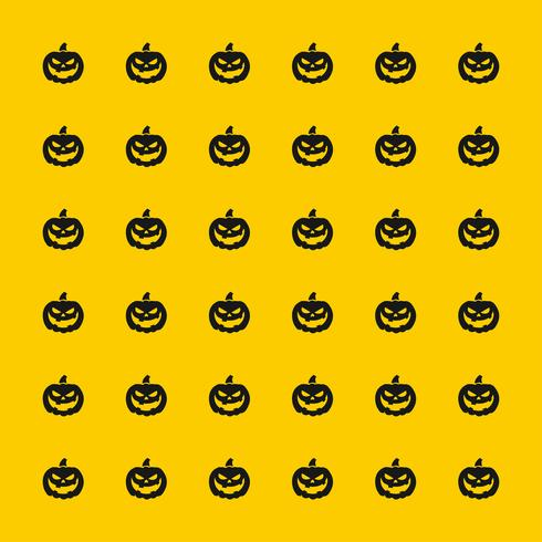 black scary pumpkin pattern on yellow background for Halloween