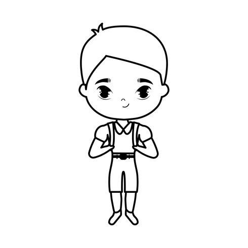 cute little student boy avatar character