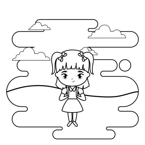 cute little student girl in landscape scene