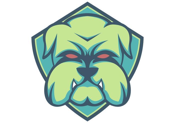 bulldog escudo verde mascota esport vector