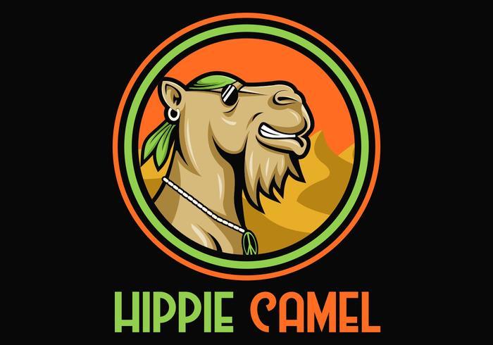 Ilustración de vector de dibujos animados de camello hippie mascota