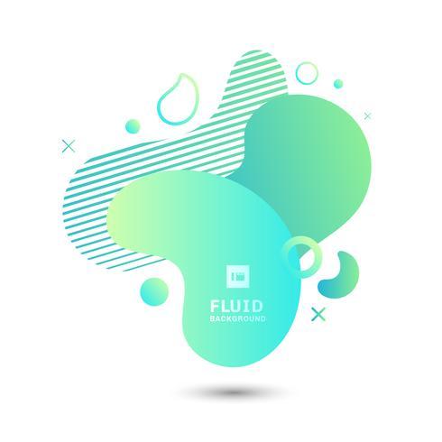Composition d'éléments de forme graphique fluide abstrait vert sur fond blanc.