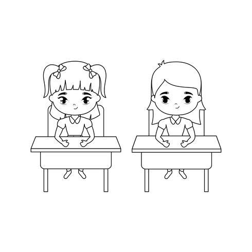 garotinhas estudante sentado em mesas de escola
