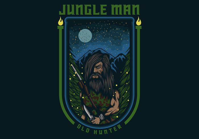 djungel man gammal jägare vektorillustration märke