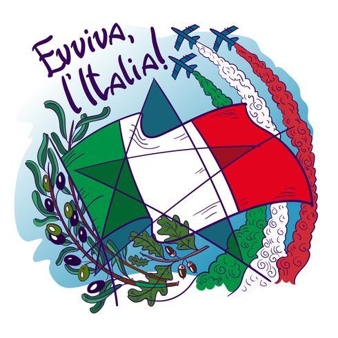 El logotipo contiene símbolos de Italia: Frecce tricolori, flechas tricoloras en el cielo, rama de olivo, roble, bandera y estrella.