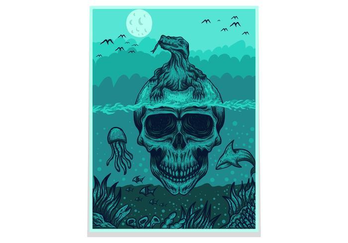 skull komodo dragon poster/flyer vector illustration