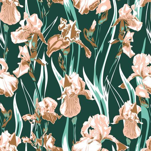 Wildflower iris flower pattern. Full name of the plant irises. salmon iris flower for background, texture, wrapper pattern, frame or border. vector