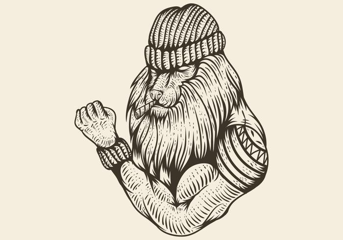 Leone forte fumo disegnato a mano illustrazione vettoriale