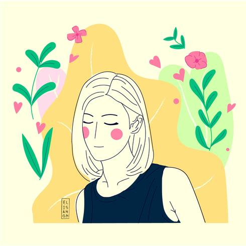 Hand Draw Flat Illustration Girl With Flower