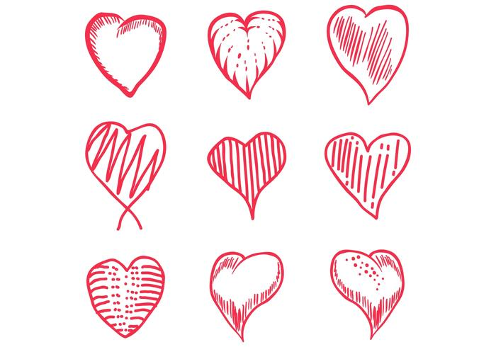 love hand draw set vector