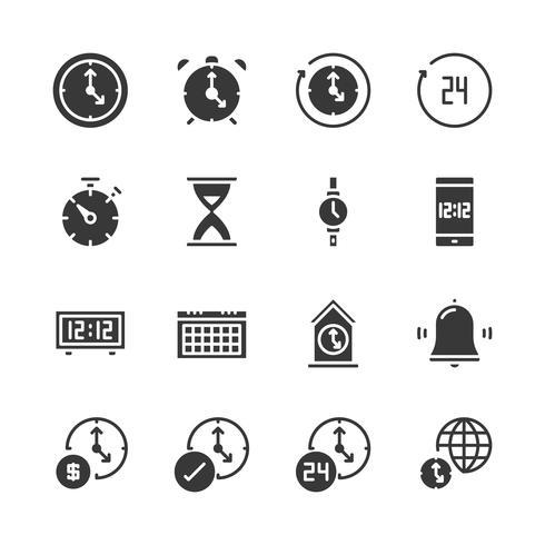 Tijd en klokpictogramreeks. Vectorillustratie