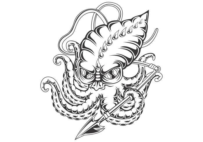bläckfisk vektorillustration