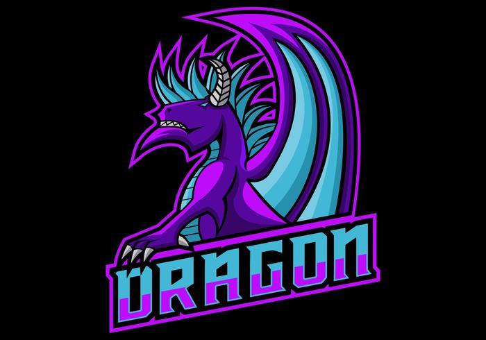 Ilustración de vector de logo de juego de dragón