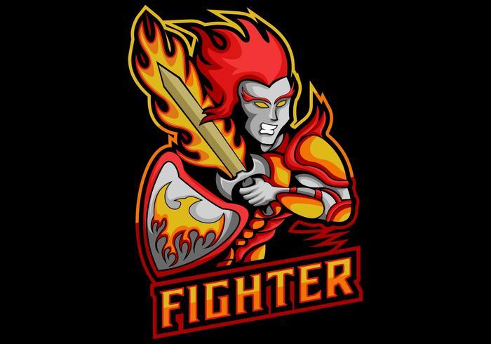 Ilustración de vector de mascota de fuego de espada de combate