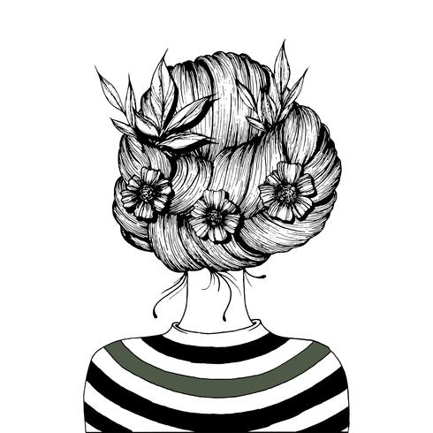 Hairstyle with flowers.  vector