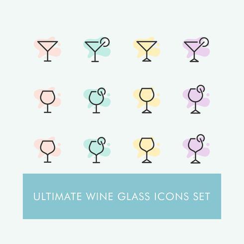 Conjunto de iconos de copa de vino minimalista simple