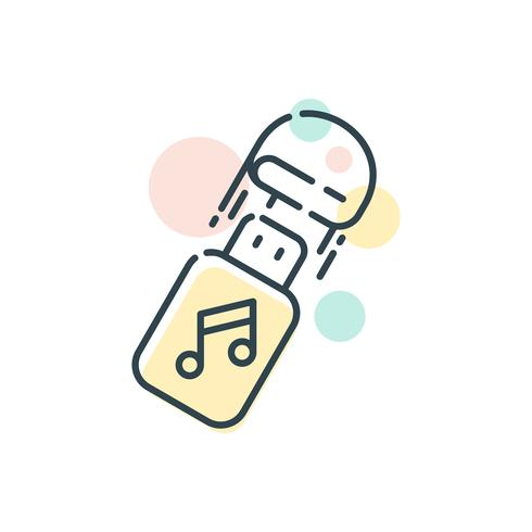 USB Stick Music Storage Flat Icon Vector
