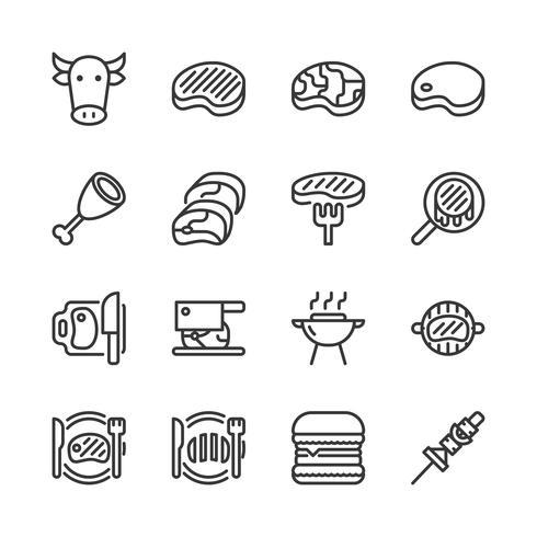 Conjunto de ícones relacionados a carne. vetor