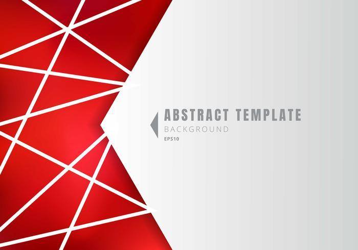 Plantilla abstracta forma geométrica blanca polígonos con líneas de composición sobre fondo rojo.