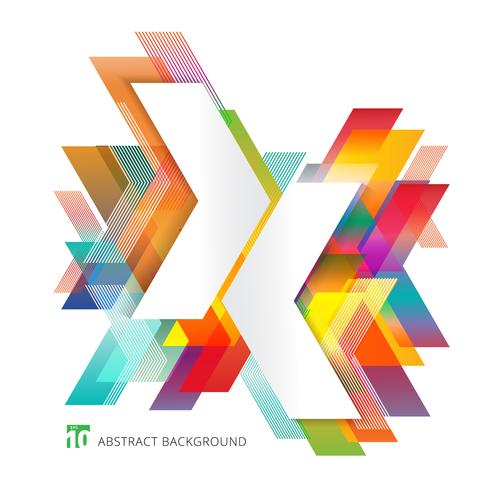Abstract template colorful arrows overlapping on white background minimal style. Geometric graphic design elements