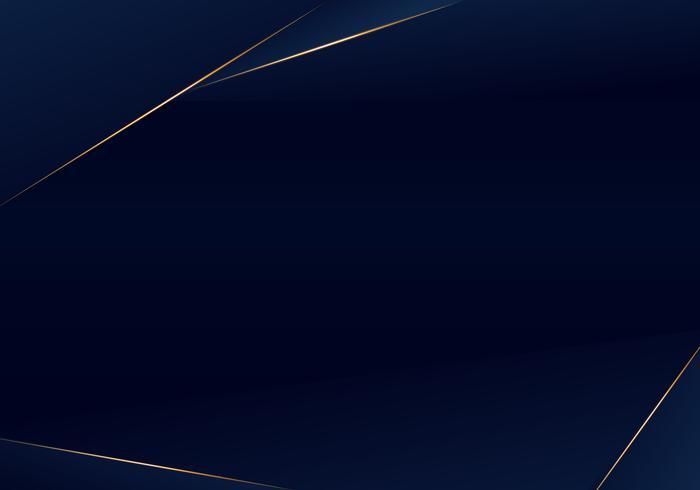 Fondo premium de lujo azul oscuro de plantilla abstracta con patrón de triángulos de lujo y líneas de iluminación doradas vector