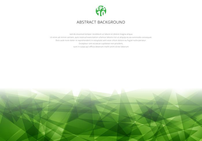 Abstract green polygonal overlapping on white background with copy space. Geometric triangles modern style