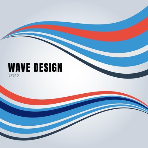 Abstrakt slät vågdesign för blå och röd färg på vit bakgrund.