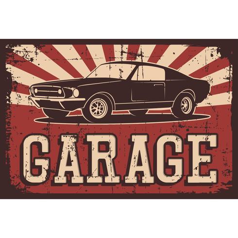 Vector el ejemplo con la imagen de un coche clásico viejo, logotipos del diseño, carteles, banderas, señalización.