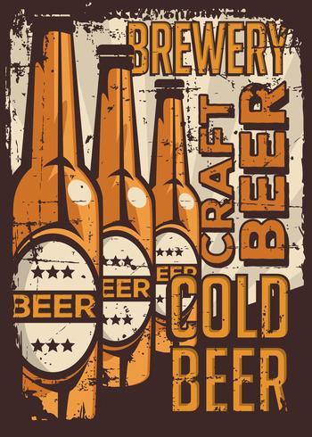 Cold Beer Vintage Retro Signage Vector