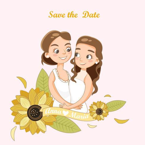 Linda pareja LGBT para tarjeta de invitación de boda vector