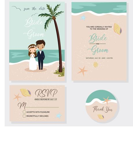 cute bride and groom on wedding invitations card template