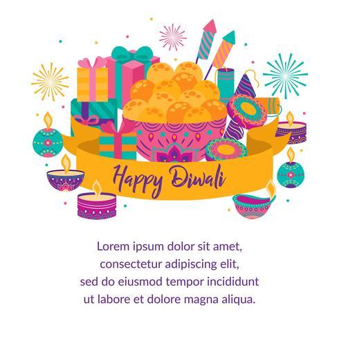 Feliz diwali Fiesta de la luz, tarjeta de felicitación. Diwali coloridos carteles con símbolos principales. Festival de luz y fuego Davavali. India hindú deepavali festival de luces. Ilustracion vectorial