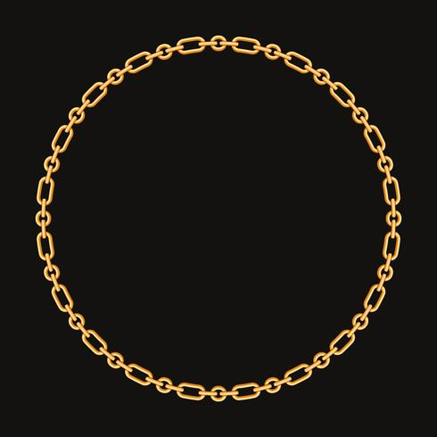 Moldura redonda feita com corrente de ouro. No preto. Ilustração vetorial
