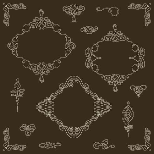 Collection de jeu d'éléments calligraphiques vectoriels et décorations de la page.