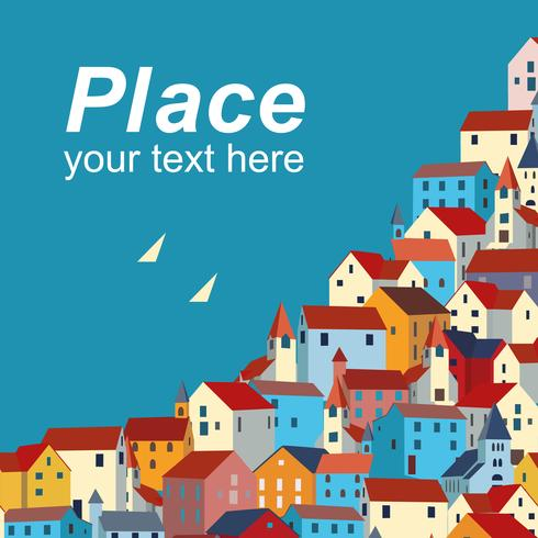 Template with sea, colorful houses and sample text.