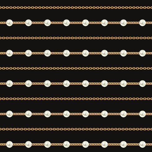 Patrón sin fisuras de las líneas de la cadena de oro sobre fondo negro. Ilustración vectorial