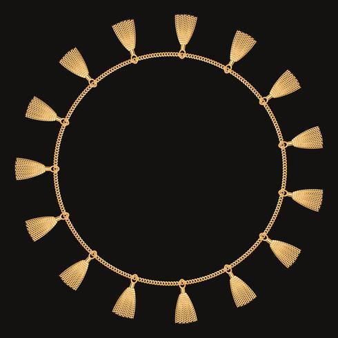 Rond frame gemaakt met gouden ketting. Op zwart. Vector illustratie