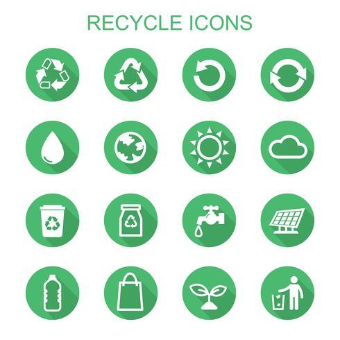 reciclar ícones de sombra longa vetor
