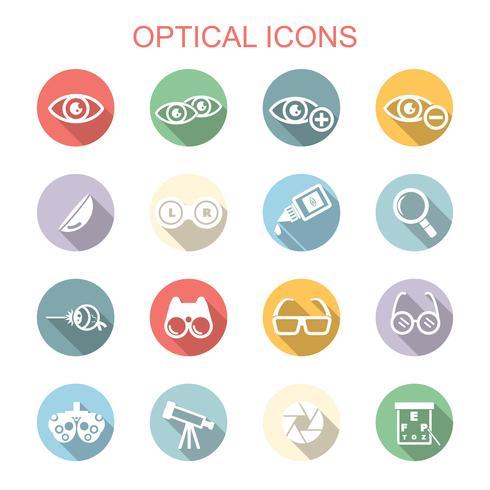 optiska långa skugga ikoner vektor