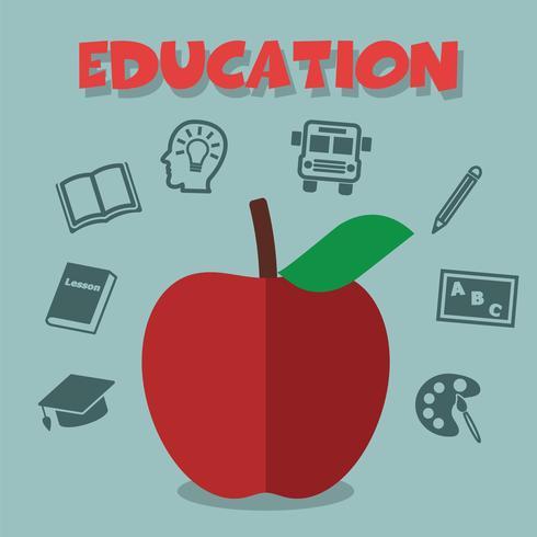 maçã vermelha com ícones de educação