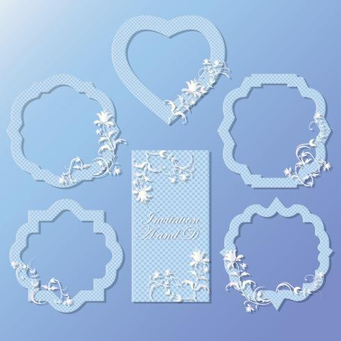 A set of frames, cards for celebration. It can be used for wedding, anniversary, birthday. Beautiful design.