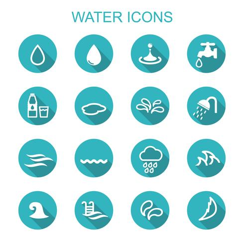 water long shadow icons vector